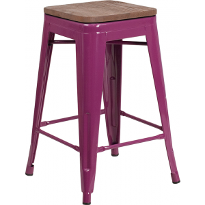 "Wholesale 24"" High Backless Purple Counter Height Stool with Square Wood Seat"
