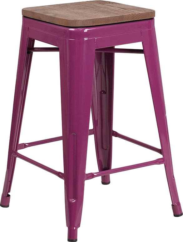 """Wholesale 24"""" High Backless Purple Counter Height Stool with Square Wood Seat"""