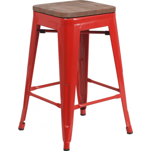 """Wholesale 24"""" High Backless Red Metal Counter Height Stool with Square Wood Seat"""