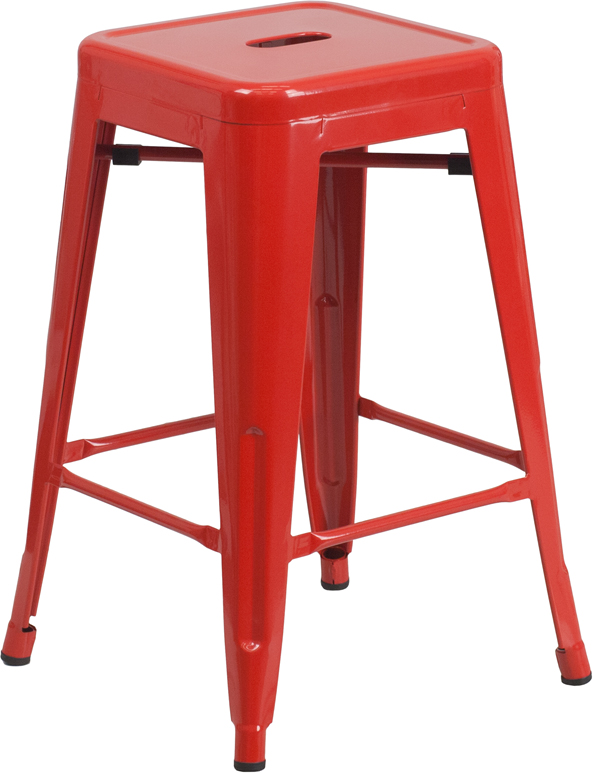 Wholesale 24'' High Backless Red Metal Indoor-Outdoor Counter Height Stool with Square Seat