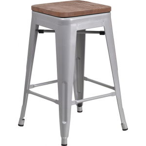"Wholesale 24"" High Backless Silver Metal Counter Height Stool with Square Wood Seat"