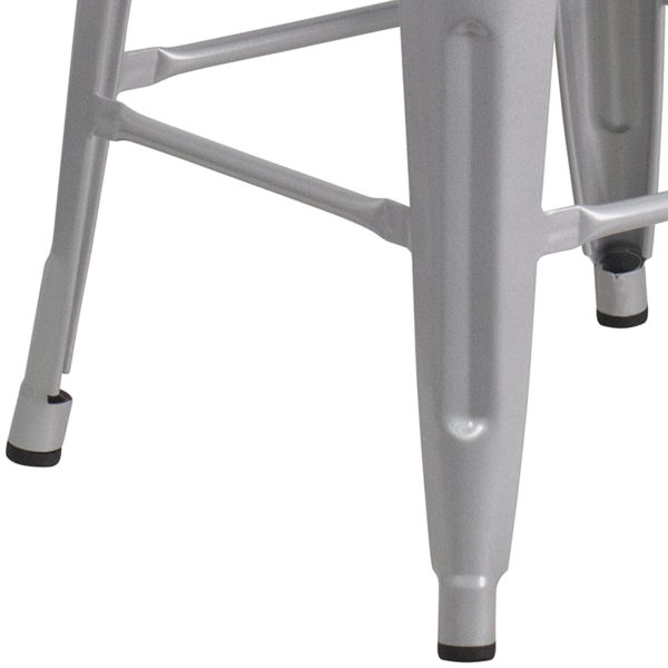 "Stackable Industrial Style Modern Stool 24"" Silver Metal Counter Stool"