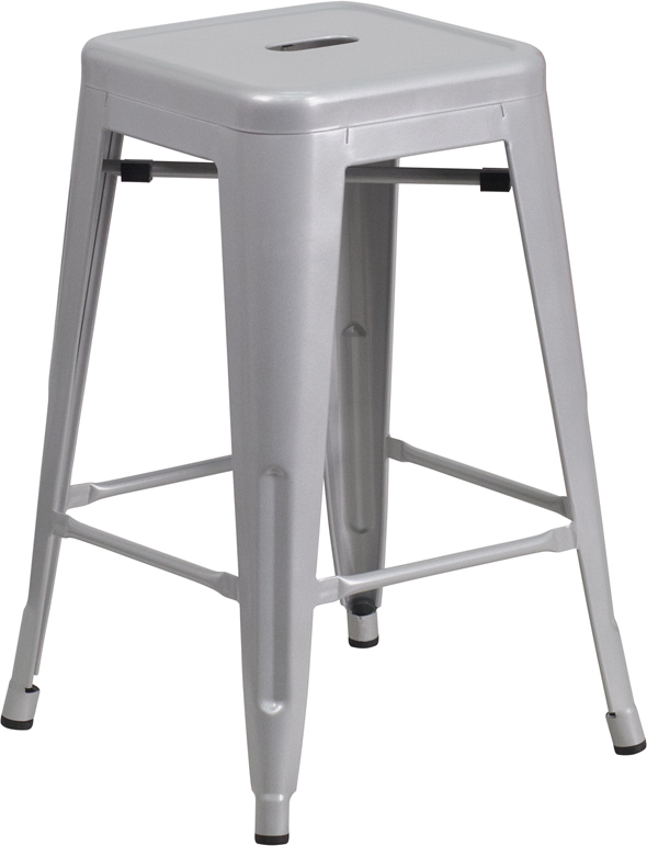 Wholesale 24'' High Backless Silver Metal Indoor-Outdoor Counter Height Stool with Square Seat