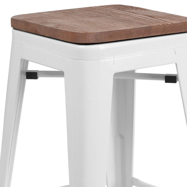 "Lowest Price 24"" High Backless White Metal Counter Height Stool with Square Wood Seat"