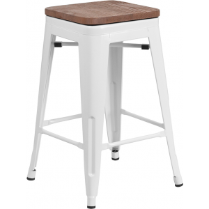 "Wholesale 24"" High Backless White Metal Counter Height Stool with Square Wood Seat"