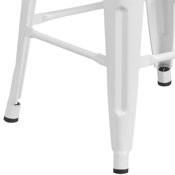 "Stackable Industrial Style Modern Stool 24"" White Metal Counter Stool"