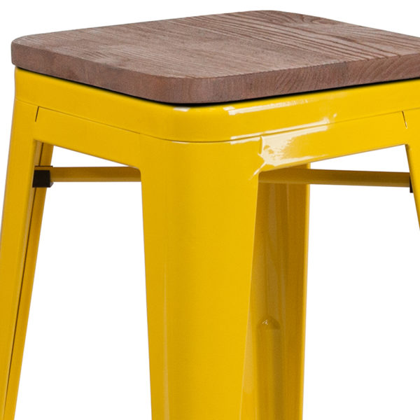 "Lowest Price 24"" High Backless Yellow Metal Counter Height Stool with Square Wood Seat"