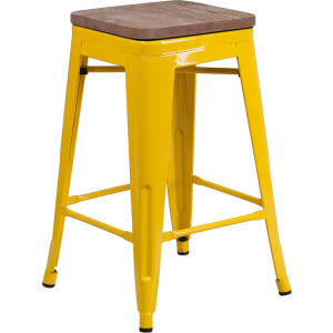 "Wholesale 24"" High Backless Yellow Metal Counter Height Stool with Square Wood Seat"