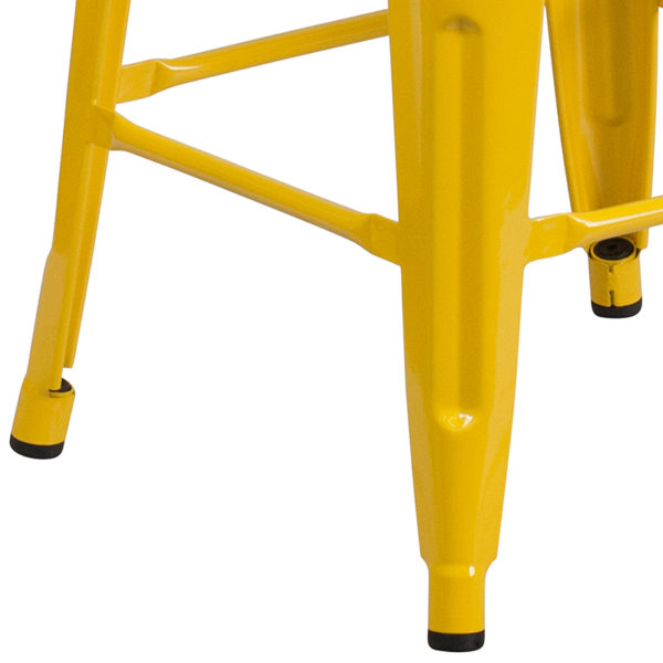 "Stackable Industrial Style Modern Stool 24"" Yellow Metal Counter Stool"