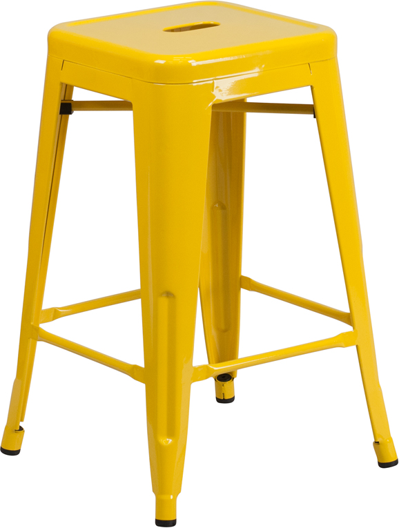 Wholesale 24'' High Backless Yellow Metal Indoor-Outdoor Counter Height Stool with Square Seat