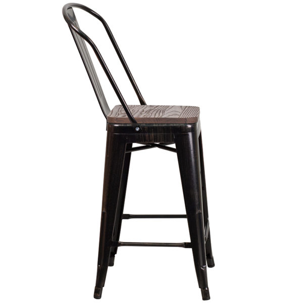 "Lowest Price 24"" High Black-Antique Gold Metal Counter Height Stool with Back and Wood Seat"