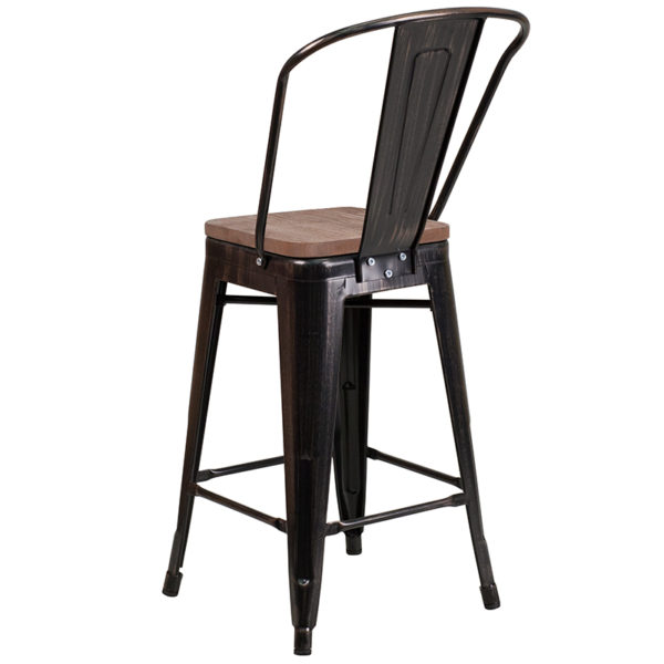 "Bistro Style Counter Stool 24"" Aged Black Metal Stool"
