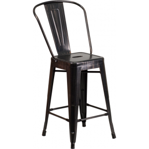 Wholesale 24'' High Black-Antique Gold Metal Indoor-Outdoor Counter Height Stool with Back