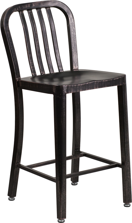 Wholesale 24'' High Black-Antique Gold Metal Indoor-Outdoor Counter Height Stool with Vertical Slat Back