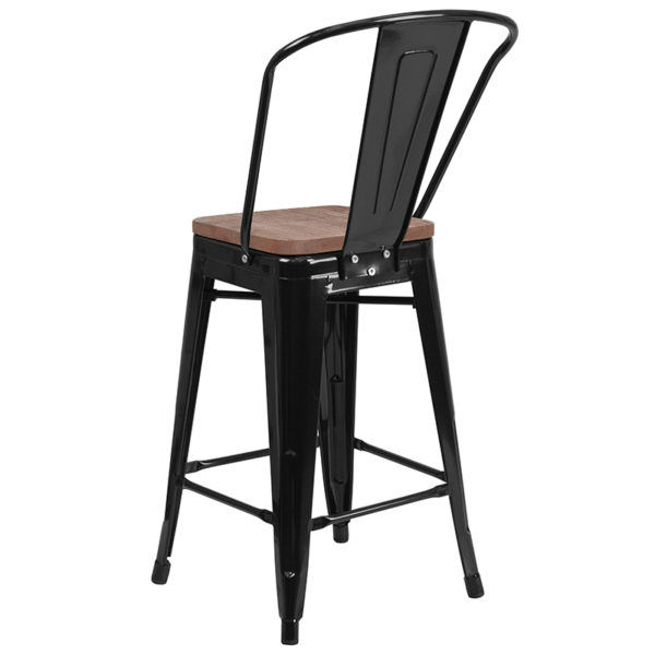 """Bistro Style Counter Stool 24"""" Black Metal Counter Stool"""