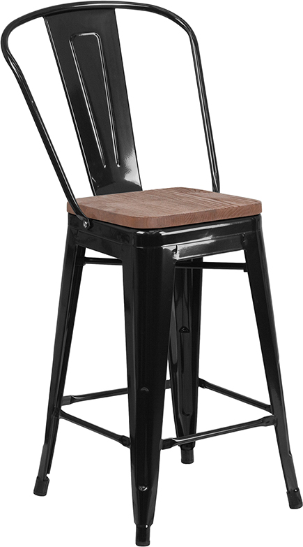 """Wholesale 24"""" High Black Metal Counter Height Stool with Back and Wood Seat"""