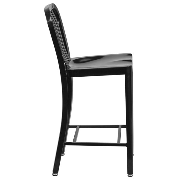 Lowest Price 24'' High Black Metal Indoor-Outdoor Counter Height Stool with Vertical Slat Back