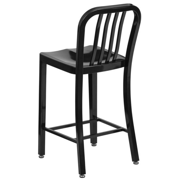 """Industrial Style Modern Counter Stool 24"""" Black Metal Outdoor Stool"""