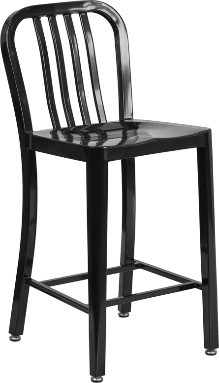 Wholesale 24'' High Black Metal Indoor-Outdoor Counter Height Stool with Vertical Slat Back