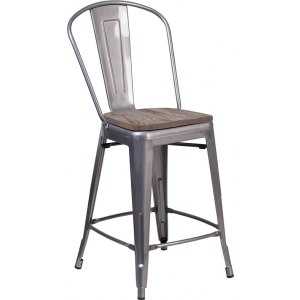 "Wholesale 24"" High Clear Coated Counter Height Stool with Back and Wood Seat"