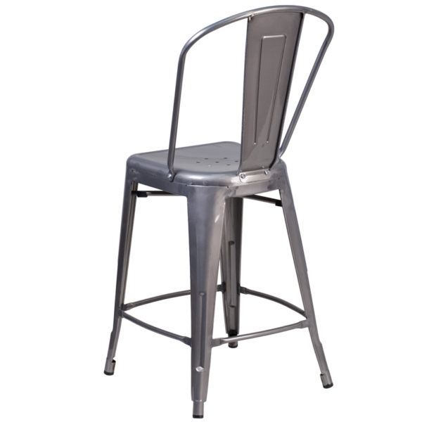 Lowest Price 24'' High Clear Coated Indoor Counter Height Stool with Back