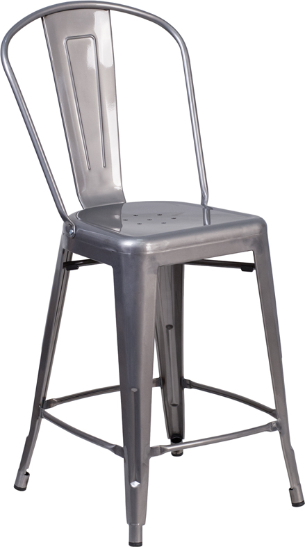 Wholesale 24'' High Clear Coated Indoor Counter Height Stool with Back