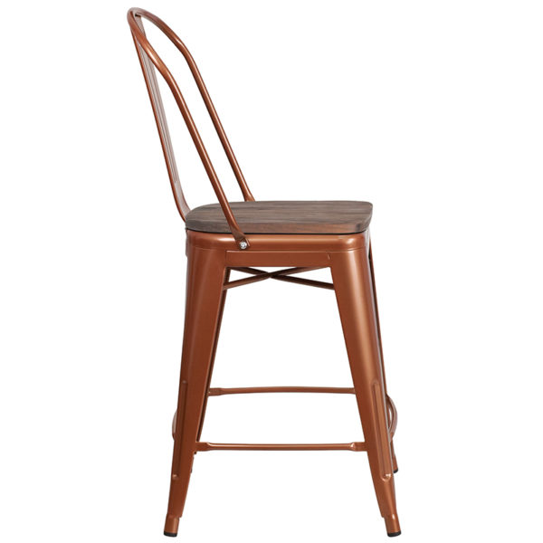 "Lowest Price 24"" High Copper Metal Counter Height Stool with Back and Wood Seat"