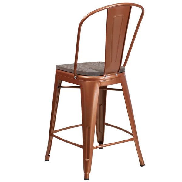 "Bistro Style Counter Stool 24"" Copper Metal Counter Stool"