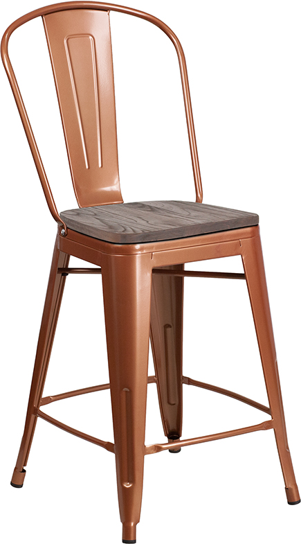 "Wholesale 24"" High Copper Metal Counter Height Stool with Back and Wood Seat"