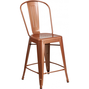 Wholesale 24'' High Copper Metal Indoor-Outdoor Counter Height Stool with Back