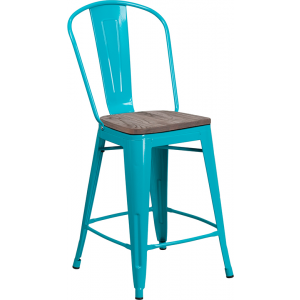 "Wholesale 24"" High Crystal Teal-Blue Metal Counter Height Stool with Back and Wood Seat"