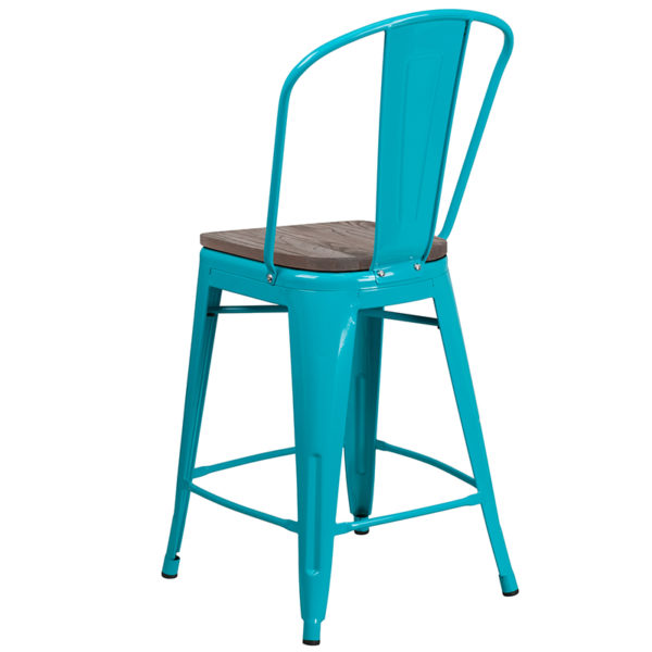 """Bistro Style Counter Stool 24"""" Teal Metal Counter Stool"""