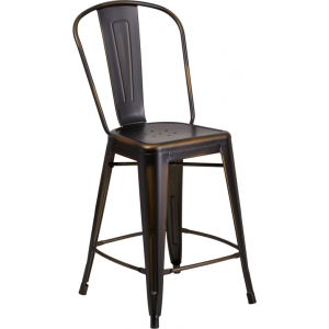 Wholesale 24'' High Distressed Copper Metal Indoor-Outdoor Counter Height Stool with Back