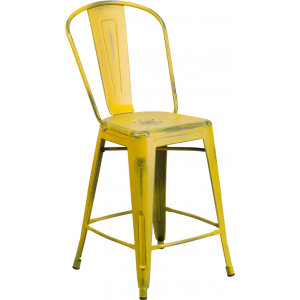 Wholesale 24'' High Distressed Yellow Metal Indoor-Outdoor Counter Height Stool with Back