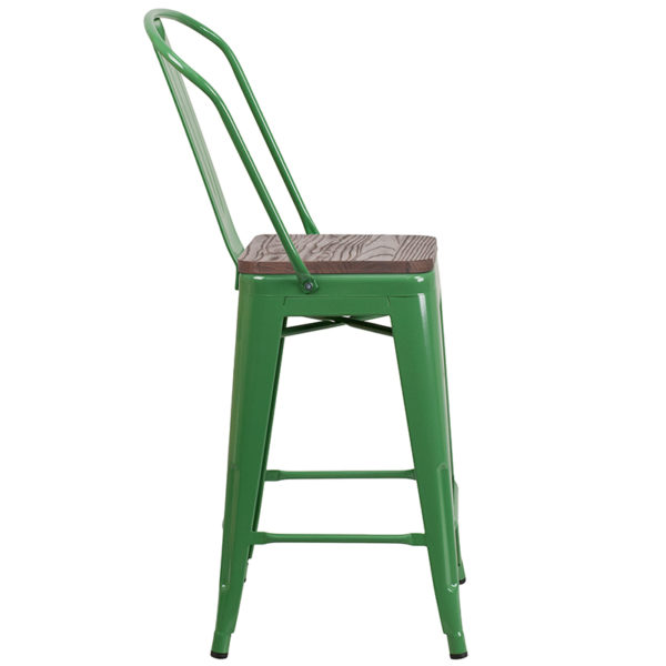 "Lowest Price 24"" High Green Metal Counter Height Stool with Back and Wood Seat"
