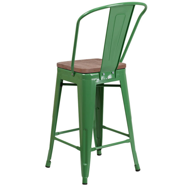 "Bistro Style Counter Stool 24"" Green Metal Counter Stool"