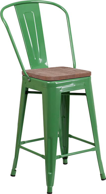 "Wholesale 24"" High Green Metal Counter Height Stool with Back and Wood Seat"