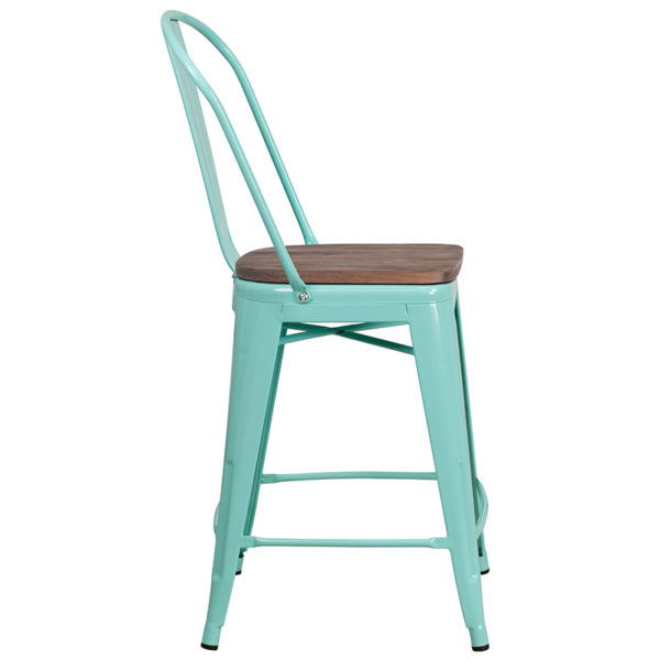 "Lowest Price 24"" High Mint Green Metal Counter Height Stool with Back and Wood Seat"