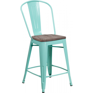 "Wholesale 24"" High Mint Green Metal Counter Height Stool with Back and Wood Seat"