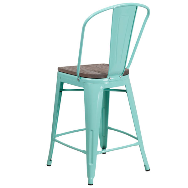 "Bistro Style Counter Stool 24"" Mint Metal Counter Stool"