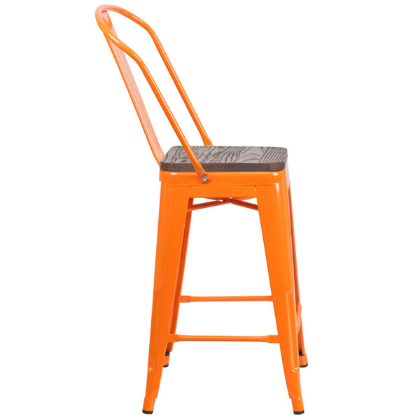 "Lowest Price 24"" High Orange Metal Counter Height Stool with Back and Wood Seat"