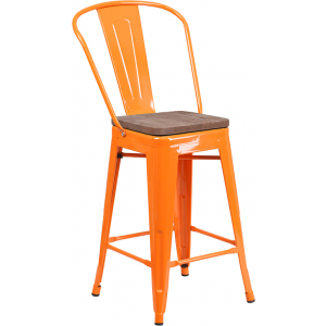 "Wholesale 24"" High Orange Metal Counter Height Stool with Back and Wood Seat"