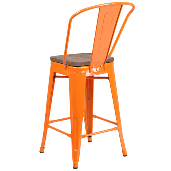 "Bistro Style Counter Stool 24"" Orange Metal Counter Stool"