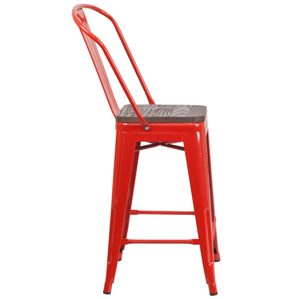 """Lowest Price 24"""" High Red Metal Counter Height Stool with Back and Wood Seat"""