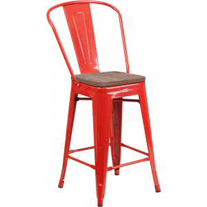 "Wholesale 24"" High Red Metal Counter Height Stool with Back and Wood Seat"