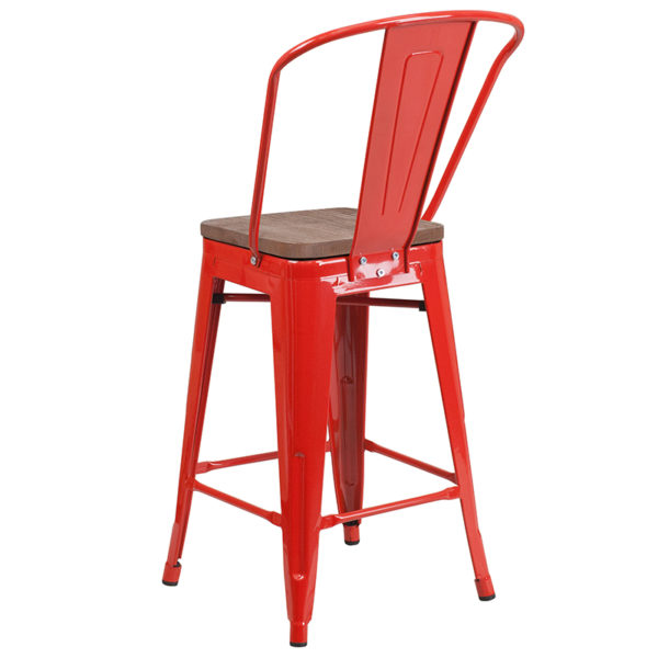 """Bistro Style Counter Stool 24"""" Red Metal Counter Stool"""