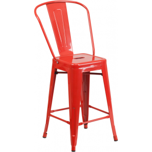 Wholesale 24'' High Red Metal Indoor-Outdoor Counter Height Stool with Back