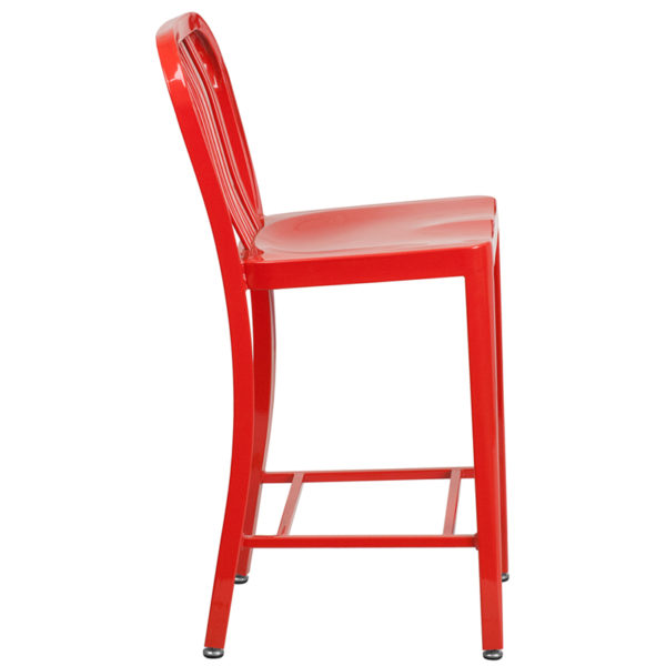 Lowest Price 24'' High Red Metal Indoor-Outdoor Counter Height Stool with Vertical Slat Back