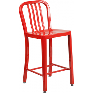 Wholesale 24'' High Red Metal Indoor-Outdoor Counter Height Stool with Vertical Slat Back