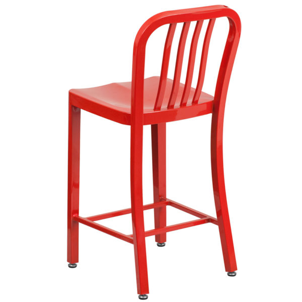 "Industrial Style Modern Counter Stool 24"" Red Metal Outdoor Stool"